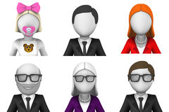 insieme dell'icona degli avatar reso 3d Fotografia Stock