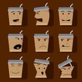Insieme dell'icona degli elementi del carattere delle tazze di caffè. Immagine Stock Libera da Diritti