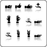 Insieme dell'icona degli elementi della mano Fotografia Stock