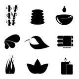 Insieme dell'icona degli elementi della stazione termale Fotografia Stock Libera da Diritti