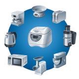 Insieme dell'icona degli elettrodomestici da cucina illustrazione di stock
