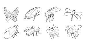 Insieme dell'icona degli insetti, stile del profilo illustrazione di stock