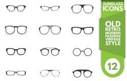 Insieme dell'icona degli occhiali da sole e di vetro Immagini Stock Libere da Diritti