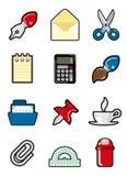 Insieme dell'icona degli oggetti dell'ufficio Immagini Stock Libere da Diritti