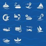 Insieme dell'icona degli sport acquatici Immagine Stock Libera da Diritti