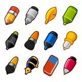 Insieme dell'icona degli strumenti di disegno e di scrittura Immagini Stock