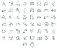 Insieme dell'icona degli strumenti e degli appaltatori Immagini Stock Libere da Diritti