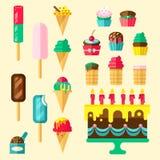 Insieme dell'icona dei bigné dei dolci Immagine Stock Libera da Diritti