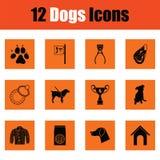 Insieme dell'icona dei cani Fotografie Stock