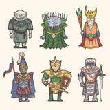 Insieme dell'icona dei caratteri di fantasia Immagine Stock Libera da Diritti