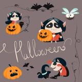 Insieme dell'icona dei caratteri di Halloween Fotografia Stock