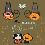 Insieme dell'icona dei caratteri di Halloween Immagini Stock
