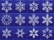 Insieme dell'icona dei fiocchi di neve Immagine Stock