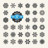 Insieme dell'icona dei fiocchi di neve Immagini Stock Libere da Diritti