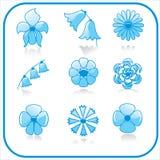 Insieme dell'icona dei fiori Immagine Stock
