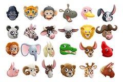 Insieme dell'icona dei fronti dell'animale del fumetto Immagine Stock