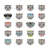 Insieme dell'icona dei fronti di smiley del gatto Fotografia Stock