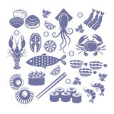 Insieme dell'icona dei frutti di mare Immagine Stock