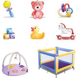 Insieme dell'icona dei giocattoli del bambino Immagini Stock Libere da Diritti