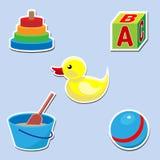 Insieme dell'icona dei giocattoli per il bambino Fotografie Stock