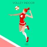 Insieme dell'icona dei giochi di estate del giocatore di pallavolo beach volley isometrico 3D Concorrenza internazionale di sport Fotografia Stock