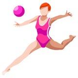 Insieme dell'icona dei giochi di estate della palla di ginnastica ritmica competizione internazionale di sport isometrica di camp Immagini Stock