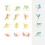 Insieme dell'icona dei giochi olimpici di estate Fotografia Stock