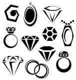 Insieme dell'icona dei gioielli Fotografia Stock