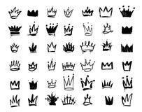 Insieme dell'icona dei graffiti di logo della corona Disegno a mano degli elementi neri Illustrazione di vettore Isolato su prior royalty illustrazione gratis