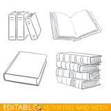 Insieme dell'icona dei libri Grafico di vettore editabile nello stile lineare Fotografia Stock
