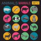 Insieme dell'icona dei mammiferi degli animali Stile piano di vettore Immagine Stock
