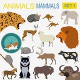 Insieme dell'icona dei mammiferi degli animali Stile piano di vettore Fotografia Stock