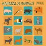 Insieme dell'icona dei mammiferi degli animali Stile piano di vettore Fotografia Stock Libera da Diritti