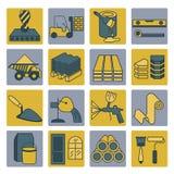 Insieme dell'icona dei materiali di rifinitura e della costruzione Linea sottile progettazione illustrazione di stock