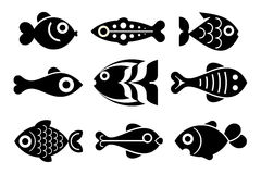 Insieme dell'icona dei pesci Immagine Stock Libera da Diritti