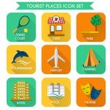 Insieme dell'icona dei posti del turista Immagini Stock