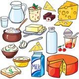 Insieme dell'icona dei prodotti lattier-caseario fotografia stock