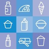 Insieme dell'icona dei prodotti lattiero-caseari royalty illustrazione gratis