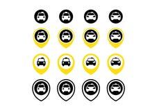 Insieme dell'icona dei punti del taxi e del taxi Immagine Stock