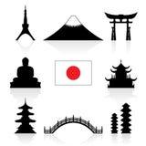 Insieme dell'icona dei punti di riferimento del Giappone Immagine Stock Libera da Diritti