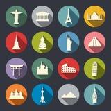 Insieme dell'icona dei punti di riferimento di viaggio Fotografie Stock