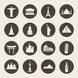 Insieme dell'icona dei punti di riferimento di viaggio royalty illustrazione gratis