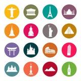 Insieme dell'icona dei punti di riferimento di viaggio. Colore illustrazione di stock