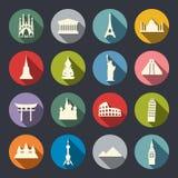 Insieme dell'icona dei punti di riferimento di viaggio. Piano Fotografia Stock