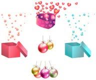 Insieme dell'icona dei regali e degli ornamenti di Natale Fotografia Stock