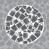 Insieme dell'icona dei sacchetti della spesa, modello senza cuciture Immagine Stock Libera da Diritti