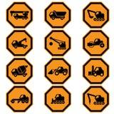 Insieme dell'icona dei veicoli della costruzione Fotografia Stock Libera da Diritti