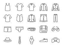 Insieme dell'icona dei vestiti degli uomini Ha compreso le icone come shorts, abiti da lavoro, modo, tralicco, camicia, pantaloni Fotografie Stock Libere da Diritti