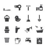 Insieme dell'icona del bagno Immagini Stock Libere da Diritti