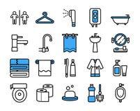 Insieme dell'icona del bagno Linea stile sottile di vettore illustrazione vettoriale